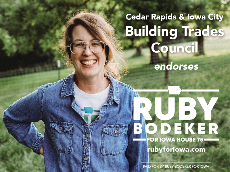 Cedar Rapids and Iowa City Building Trades Council endorses Ruby Bodeker